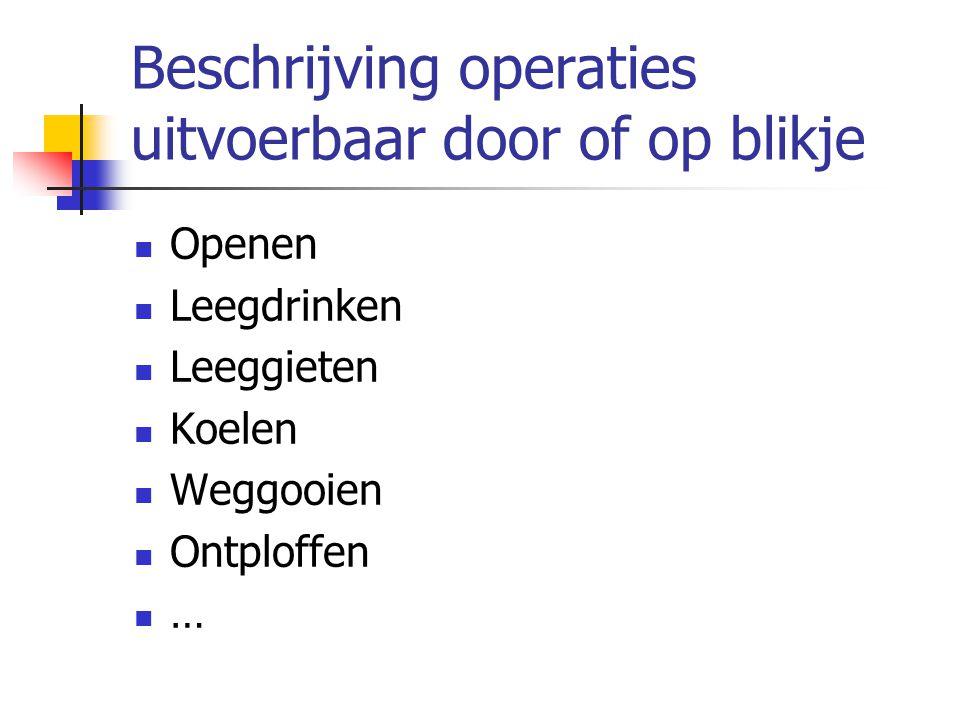 Beschrijving operaties uitvoerbaar door of op blikje