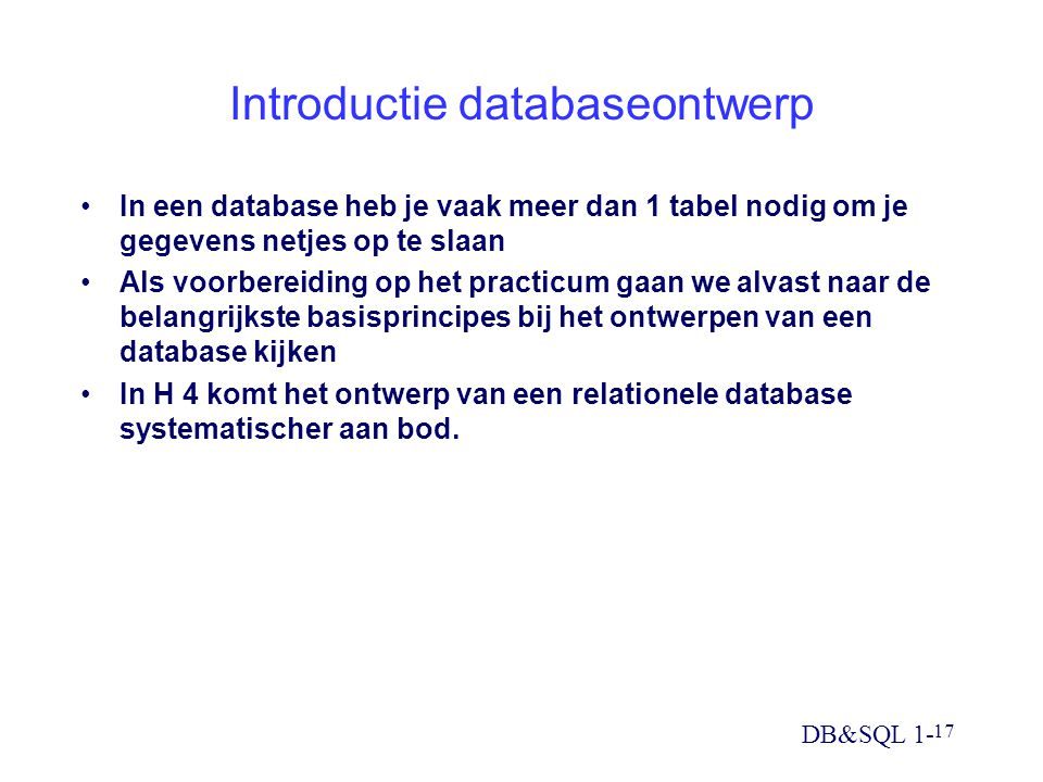 Introductie databaseontwerp