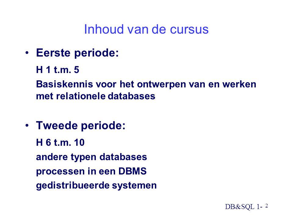 Inhoud van de cursus Eerste periode: H 1 t.m. 5 Tweede periode: