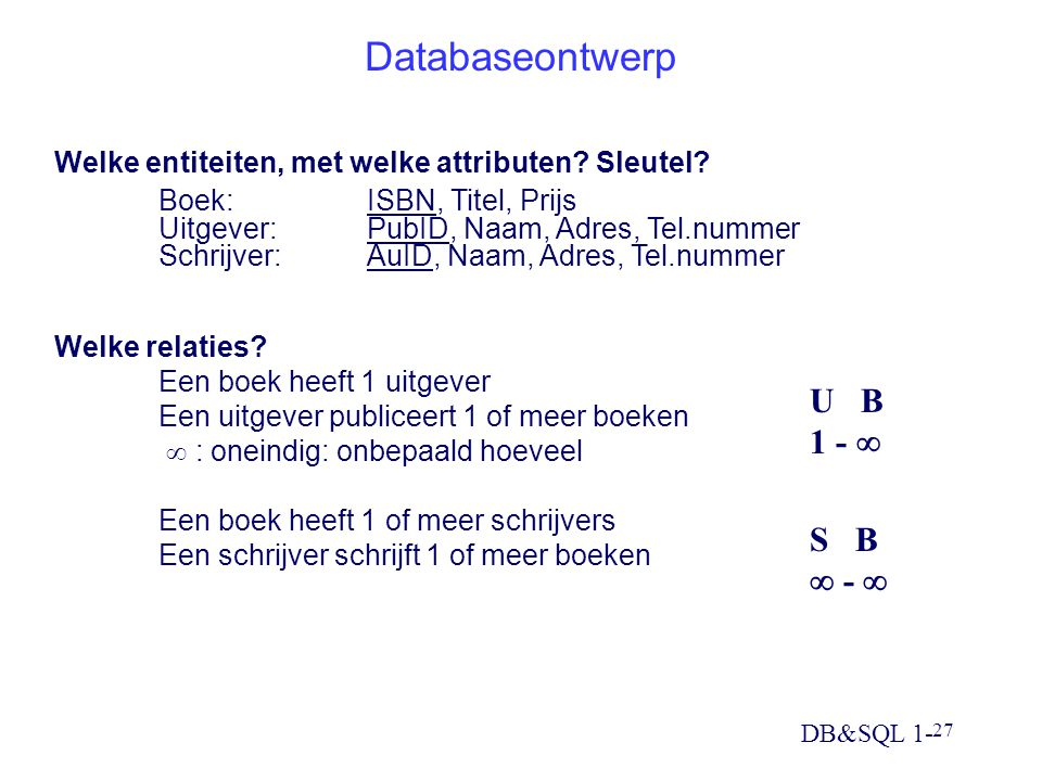 Databaseontwerp U B 1 -  S B  - 