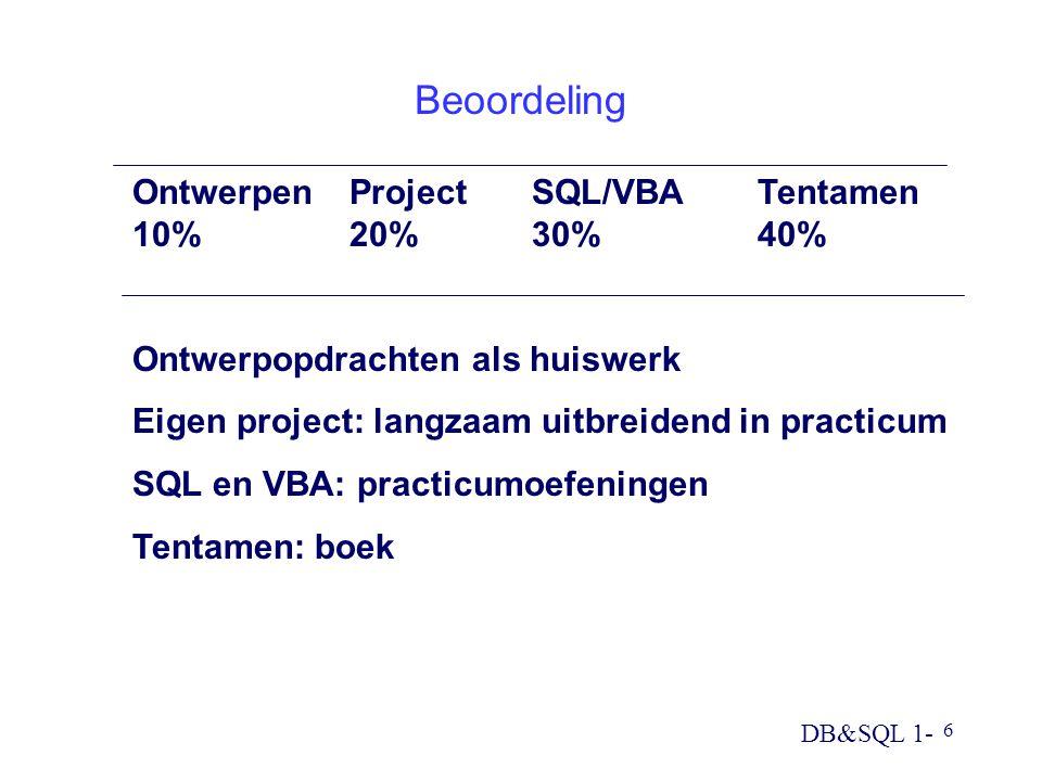 Beoordeling Ontwerpen Project SQL/VBA Tentamen 10% 20% 30% 40%
