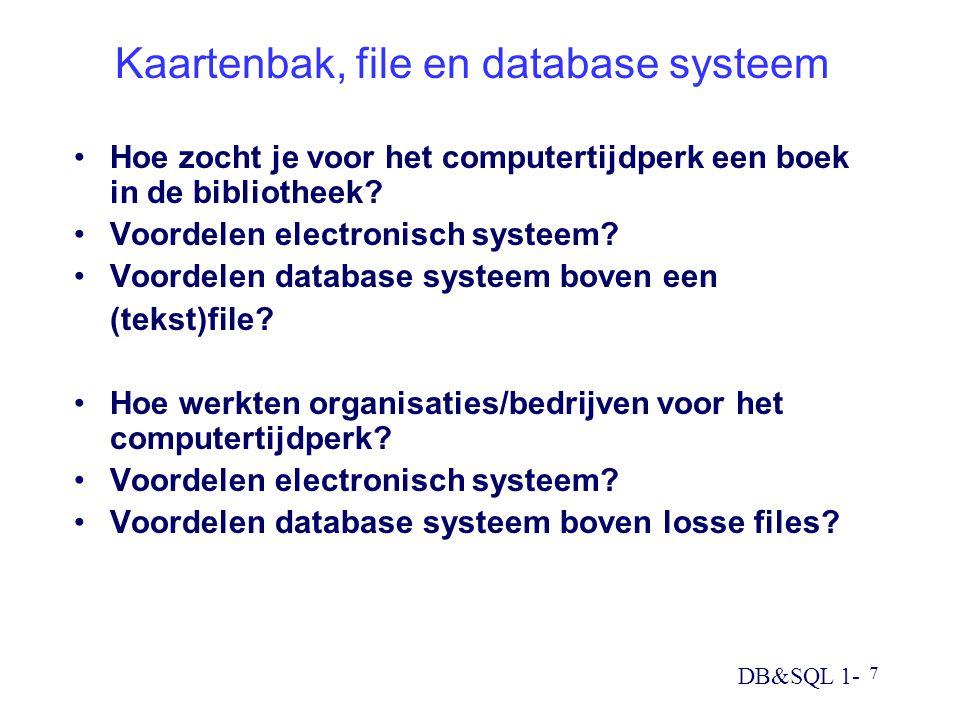 Kaartenbak, file en database systeem