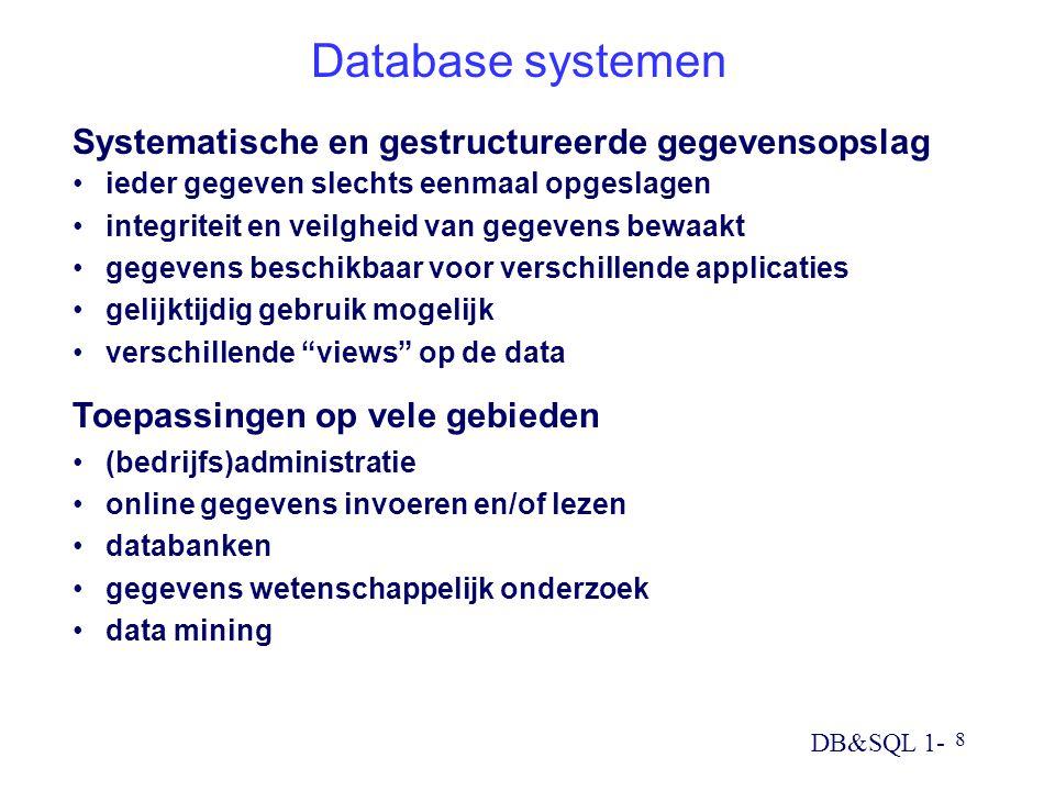 Database systemen Systematische en gestructureerde gegevensopslag