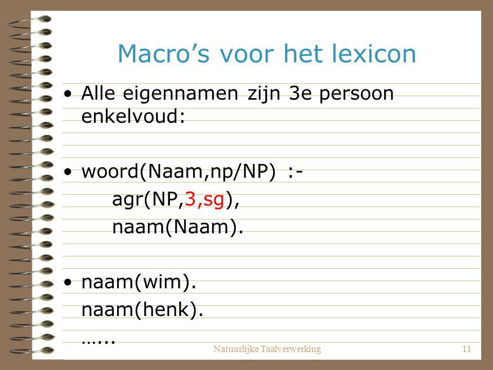 Macro's voor het lexicon
