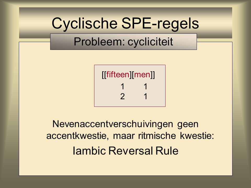 Cyclische SPE-regels Probleem: cycliciteit Iambic Reversal Rule