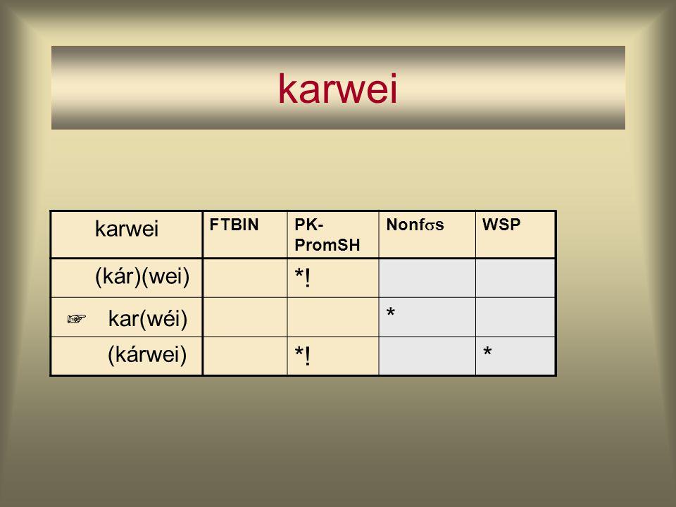 karwei *! kar(wéi) * karwei (kár)(wei) (kárwei) ☞ FTBIN PK-PromSH