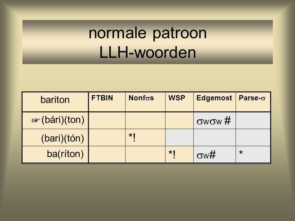 normale patroon LLH-woorden