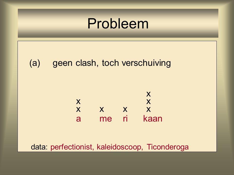Probleem (a) geen clash, toch verschuiving x x x x x x x a me ri kaan