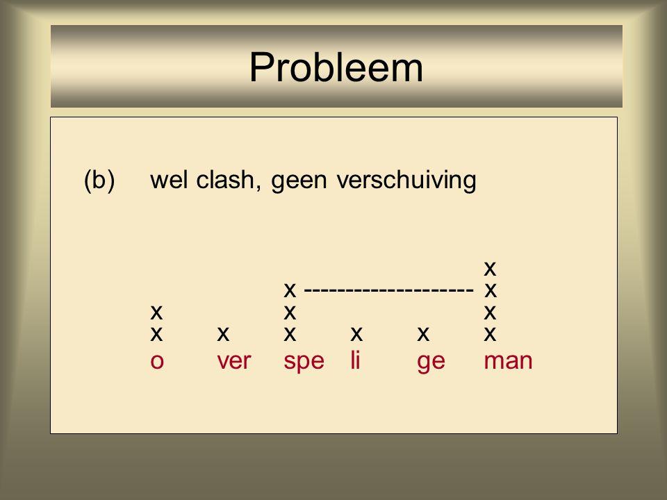 Probleem (b) wel clash, geen verschuiving