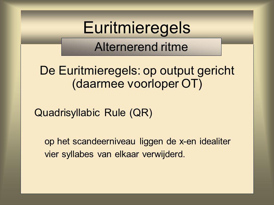 Euritmieregels Alternerend ritme De Euritmieregels: op output gericht