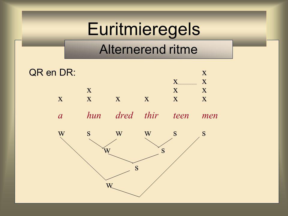Euritmieregels Alternerend ritme x x x x x x x x x x x x QR en DR: