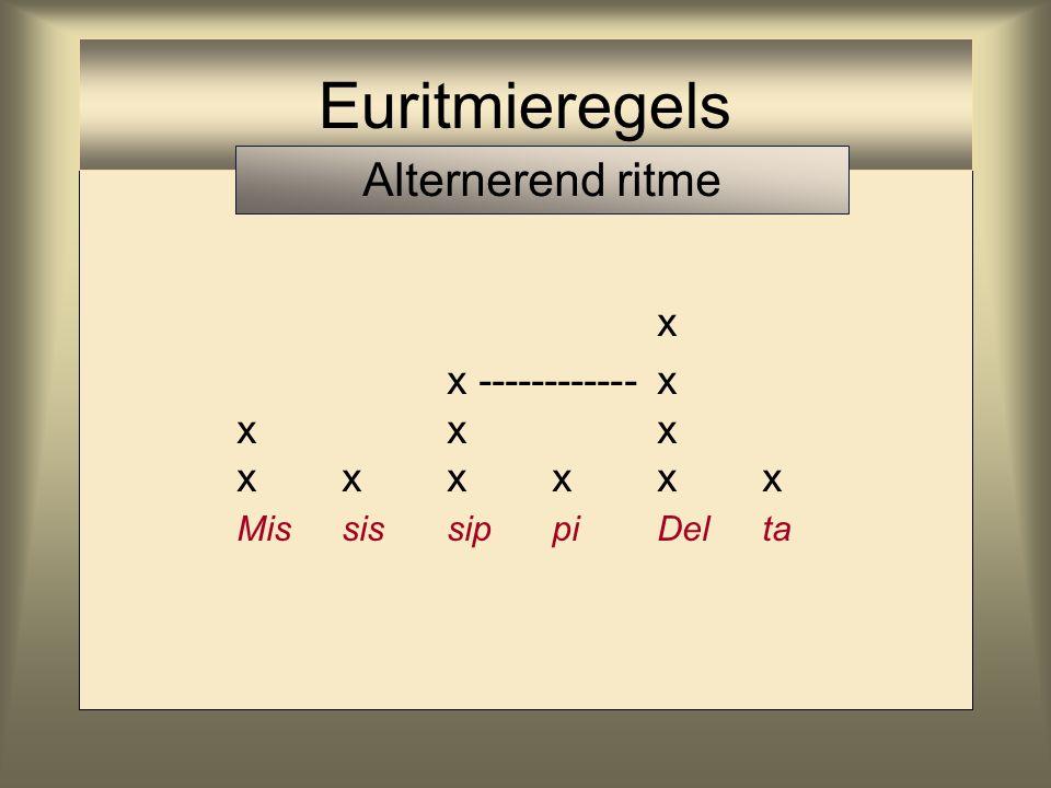 Euritmieregels Alternerend ritme x x ------------ x x x x x x x x x x