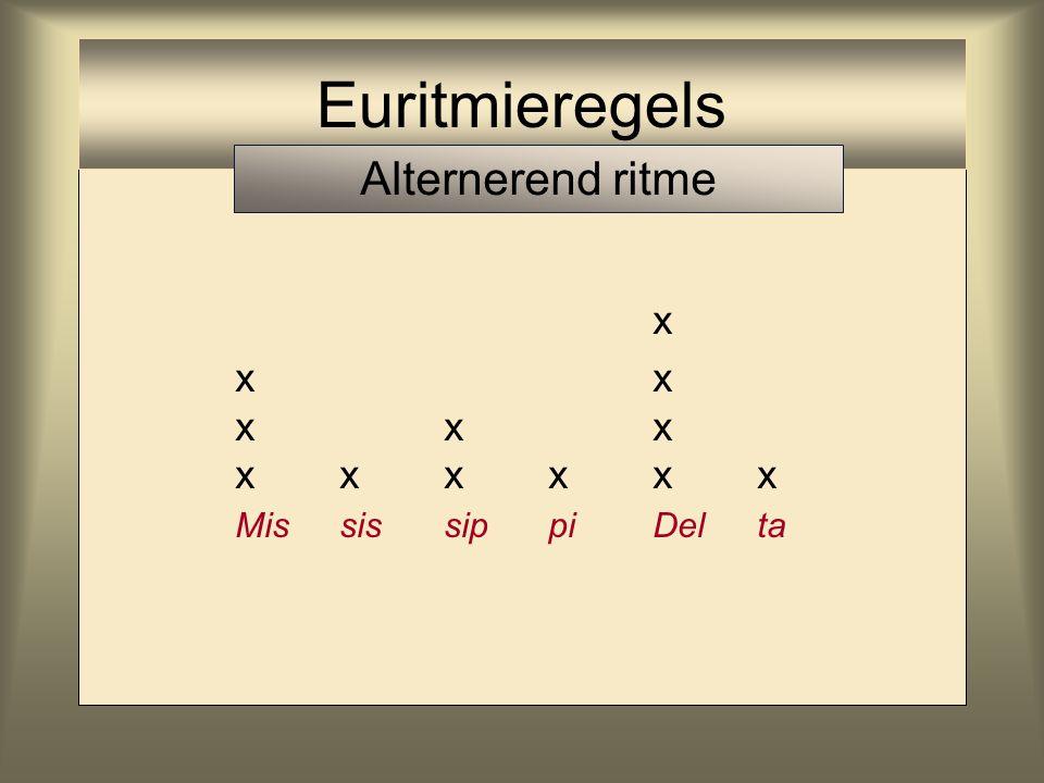 Euritmieregels Alternerend ritme x x x x x x x x x x x x