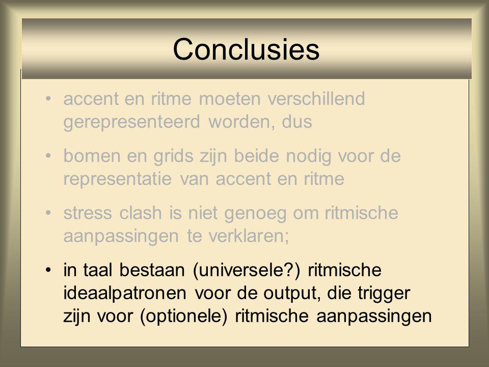 Conclusies accent en ritme moeten verschillend gerepresenteerd worden, dus.