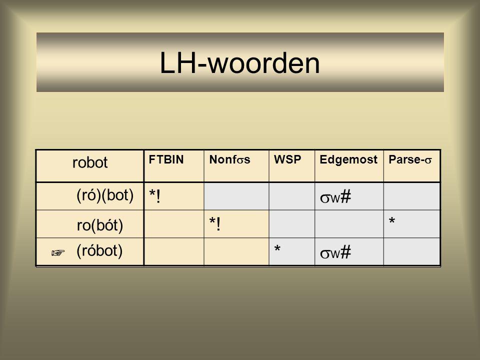 LH-woorden *! w# ro(bót) * robot (ró)(bot) (róbot) ☞ FTBIN Nonfs WSP