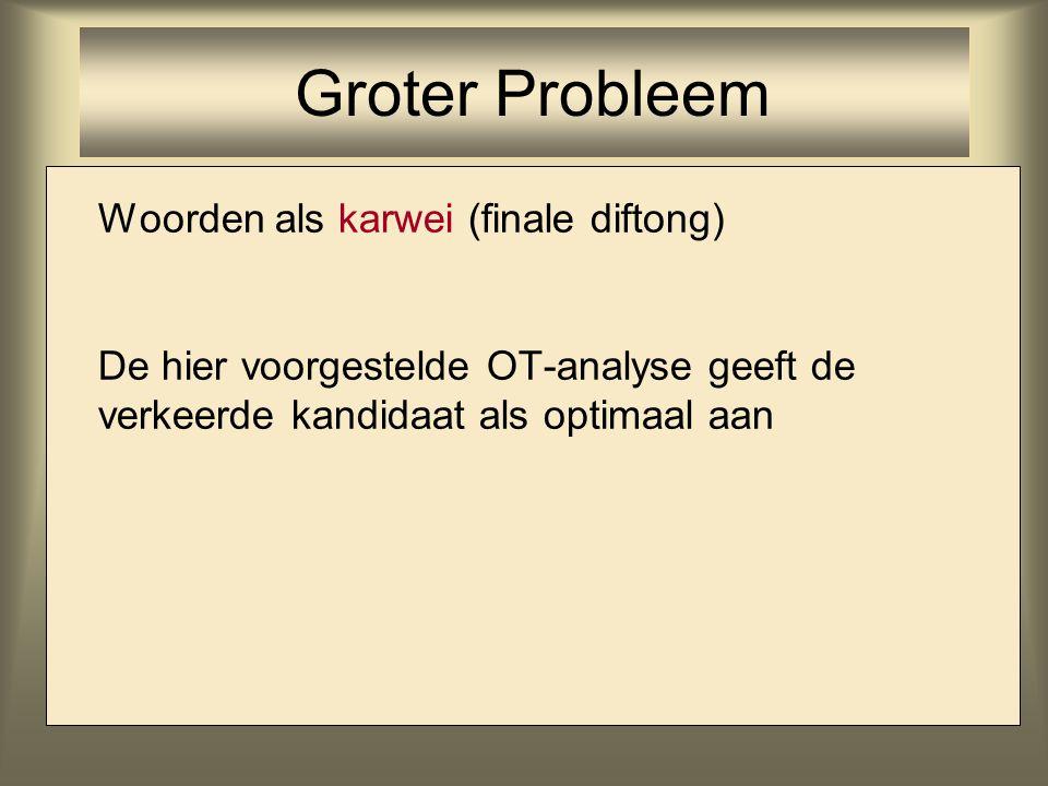 Groter Probleem Woorden als karwei (finale diftong)