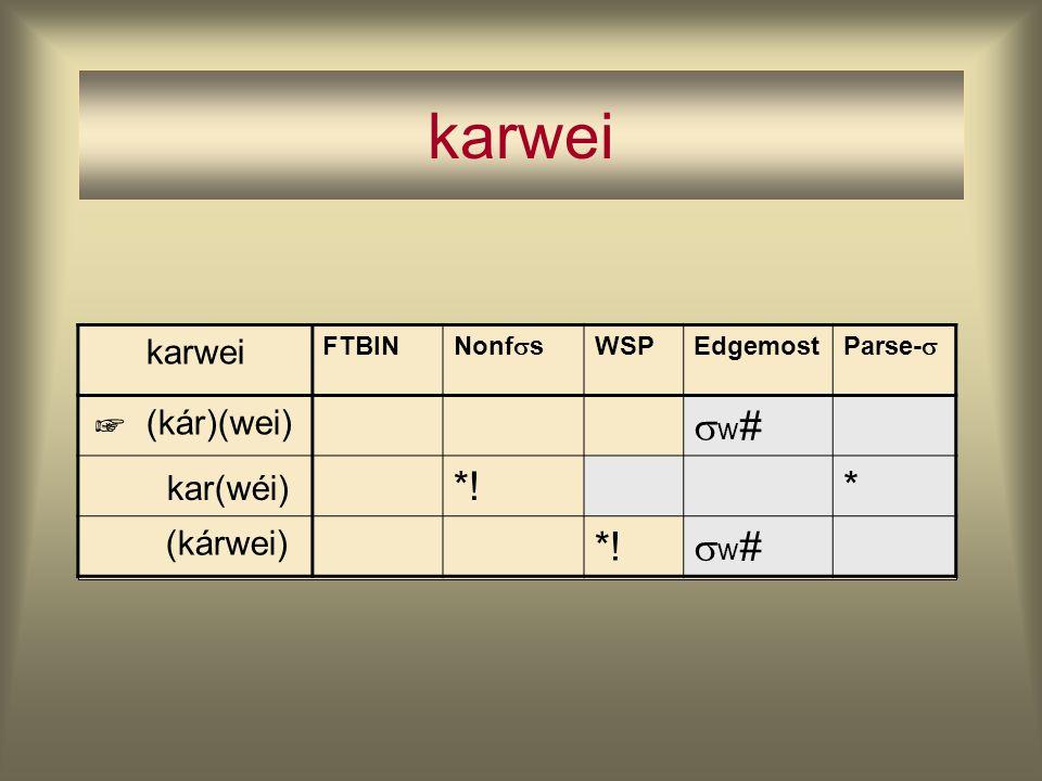 karwei w# kar(wéi) *! * karwei (kár)(wei) (kárwei) ☞ FTBIN Nonfs WSP