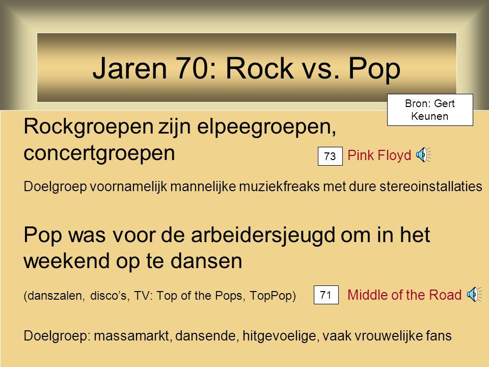 Jaren 70: Rock vs. Pop Bron: Gert Keunen. Rockgroepen zijn elpeegroepen, concertgroepen Pink Floyd.