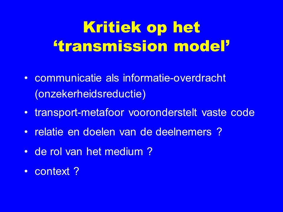 Kritiek op het 'transmission model'