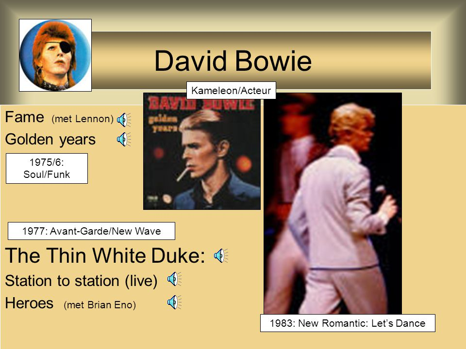 David Bowie The Thin White Duke: Fame (met Lennon) Golden years