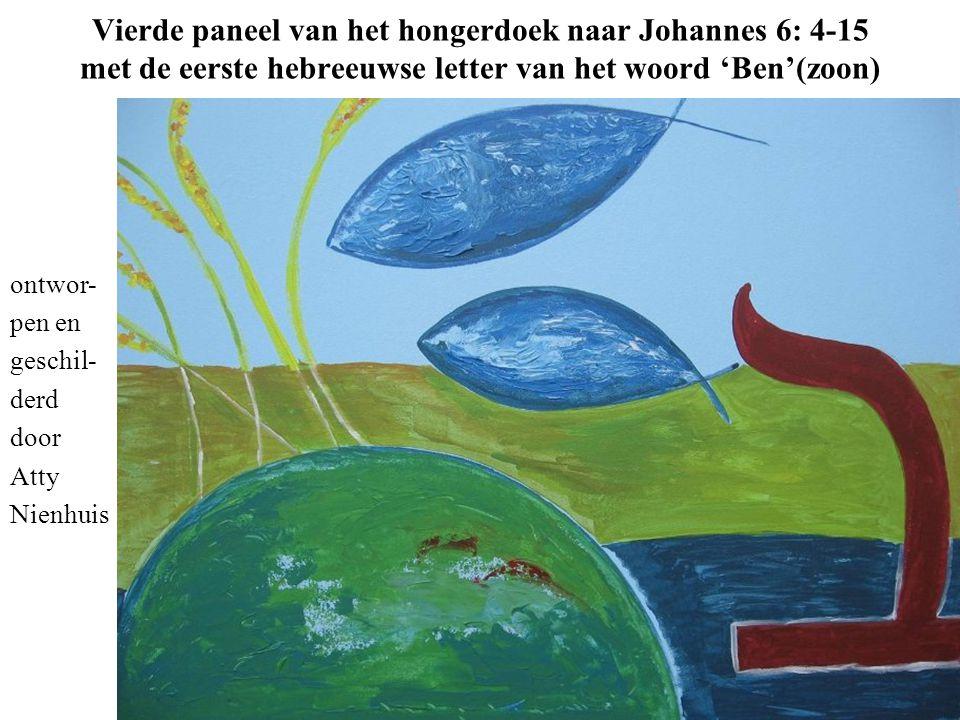 Vierde paneel van het hongerdoek naar Johannes 6: 4-15 met de eerste hebreeuwse letter van het woord 'Ben'(zoon)