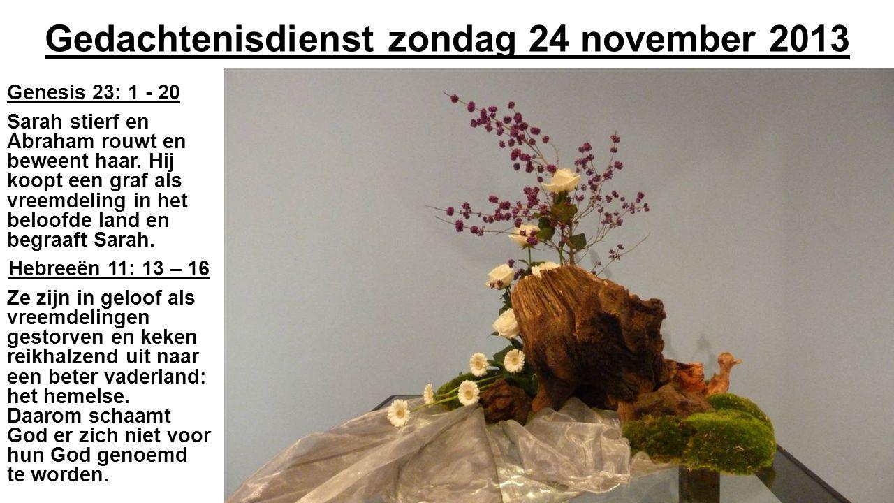 Gedachtenisdienst zondag 24 november 2013