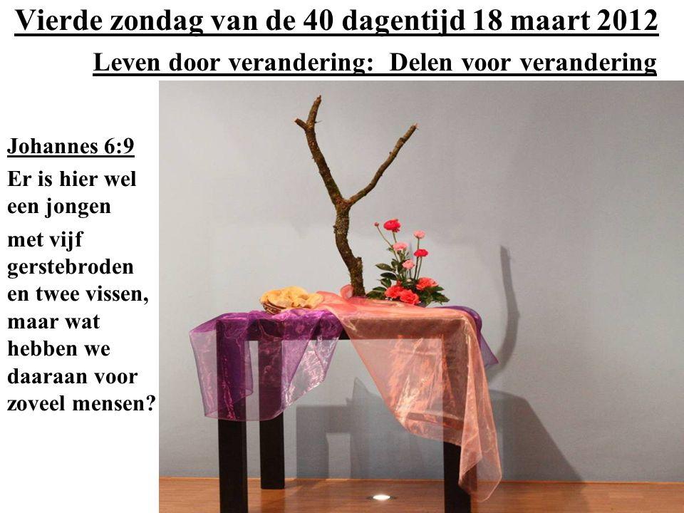 Vierde zondag van de 40 dagentijd 18 maart 2012 Leven door verandering: Delen voor verandering