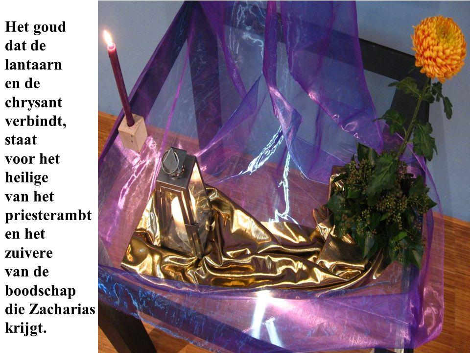 Het goud dat de lantaarn en de chrysant verbindt, staat voor het heilige van het priesterambt en het zuivere van de boodschap die Zacharias krijgt.