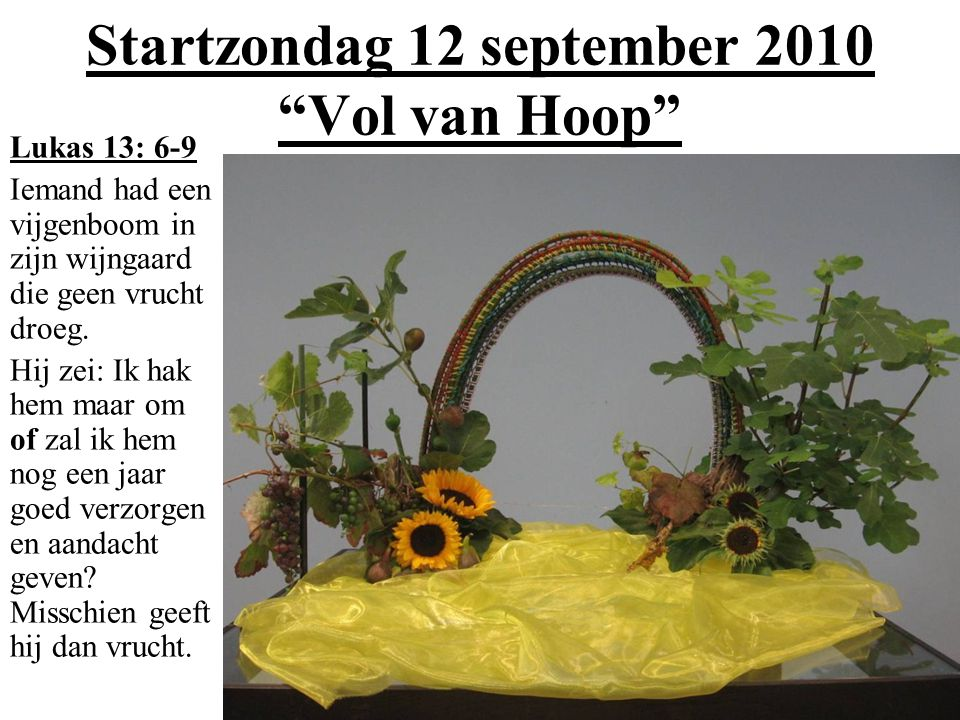 Startzondag 12 september 2010 Vol van Hoop