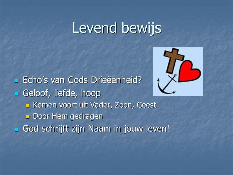 Levend bewijs Echo's van Gods Drieëenheid Geloof, liefde, hoop