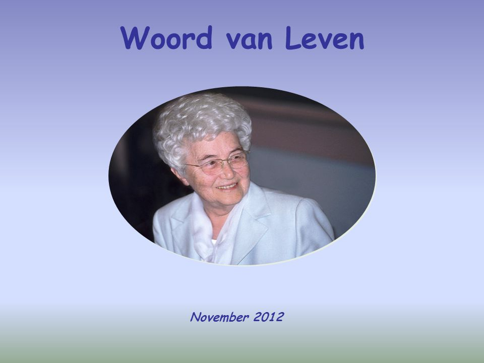Woord van Leven November 2012