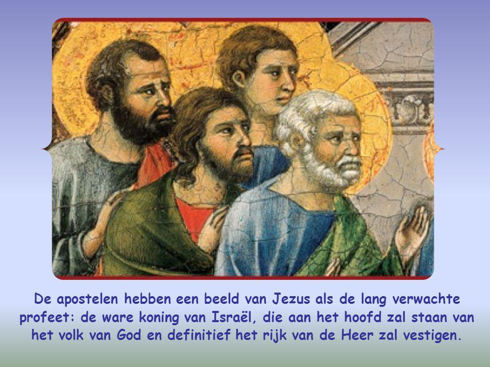 De apostelen hebben een beeld van Jezus als de lang verwachte profeet: de ware koning van Israël, die aan het hoofd zal staan van het volk van God en definitief het rijk van de Heer zal vestigen.