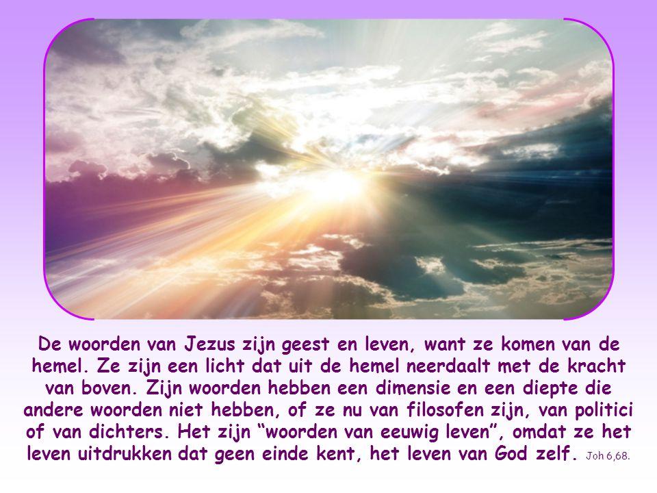 De woorden van Jezus zijn geest en leven, want ze komen van de hemel