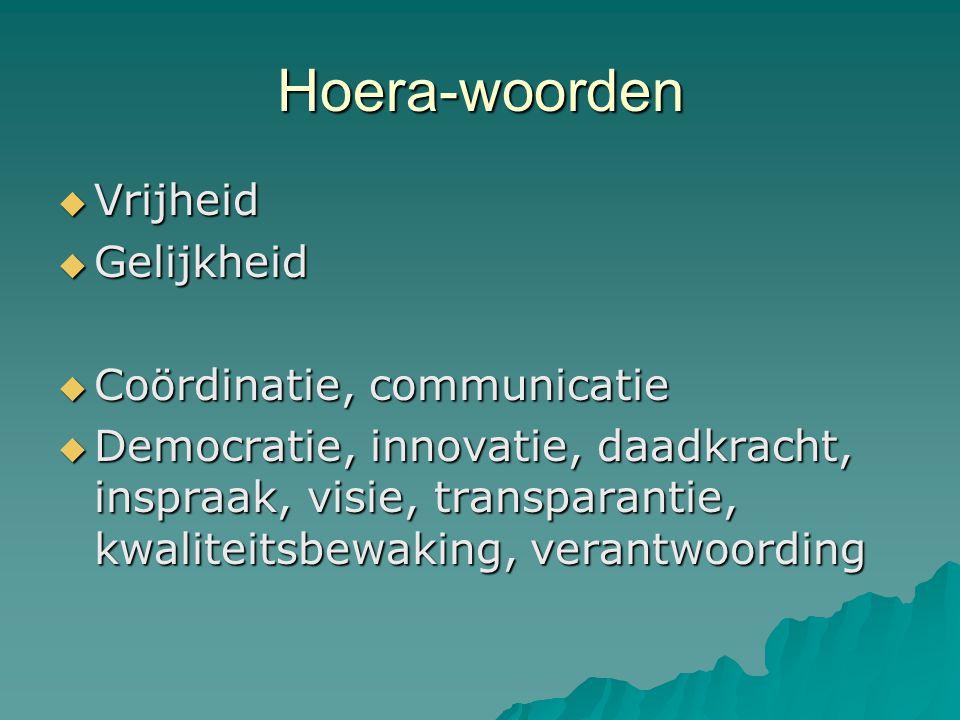 Hoera-woorden Vrijheid Gelijkheid Coördinatie, communicatie