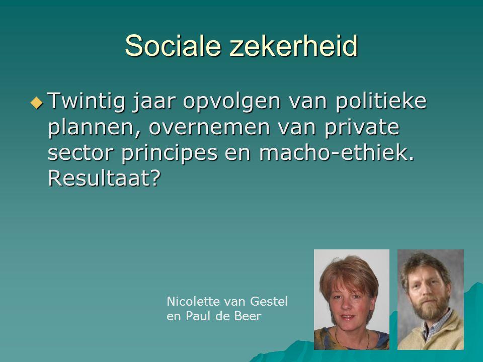 Sociale zekerheid Twintig jaar opvolgen van politieke plannen, overnemen van private sector principes en macho-ethiek. Resultaat