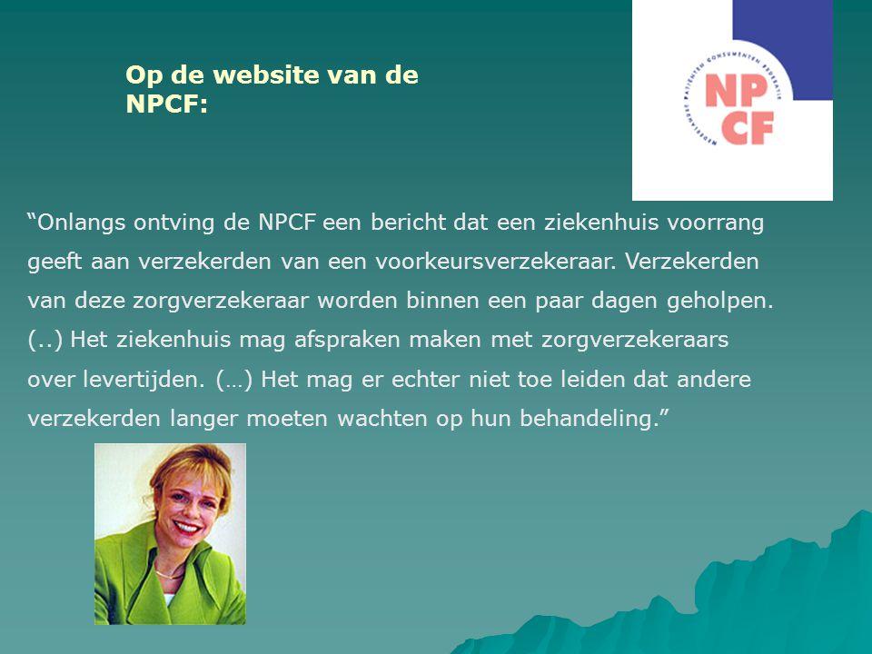 Op de website van de NPCF: