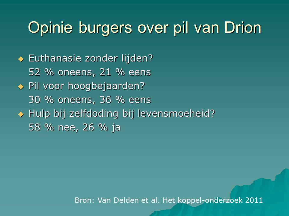 Opinie burgers over pil van Drion