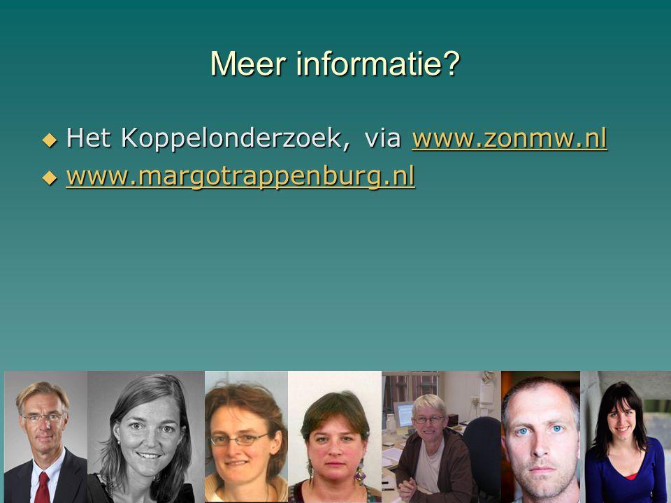 Meer informatie Het Koppelonderzoek, via www.zonmw.nl