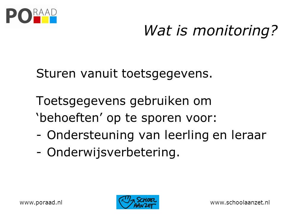 Wat is monitoring Sturen vanuit toetsgegevens.