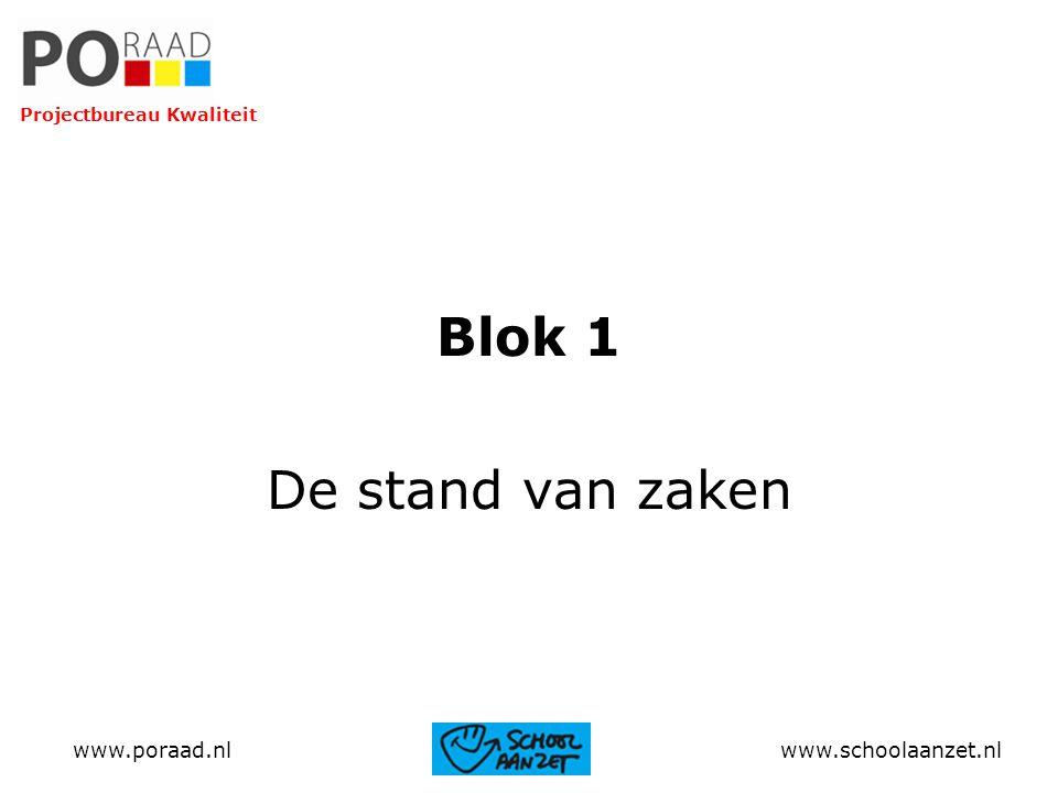 Blok 1 De stand van zaken www.poraad.nl www.schoolaanzet.nl