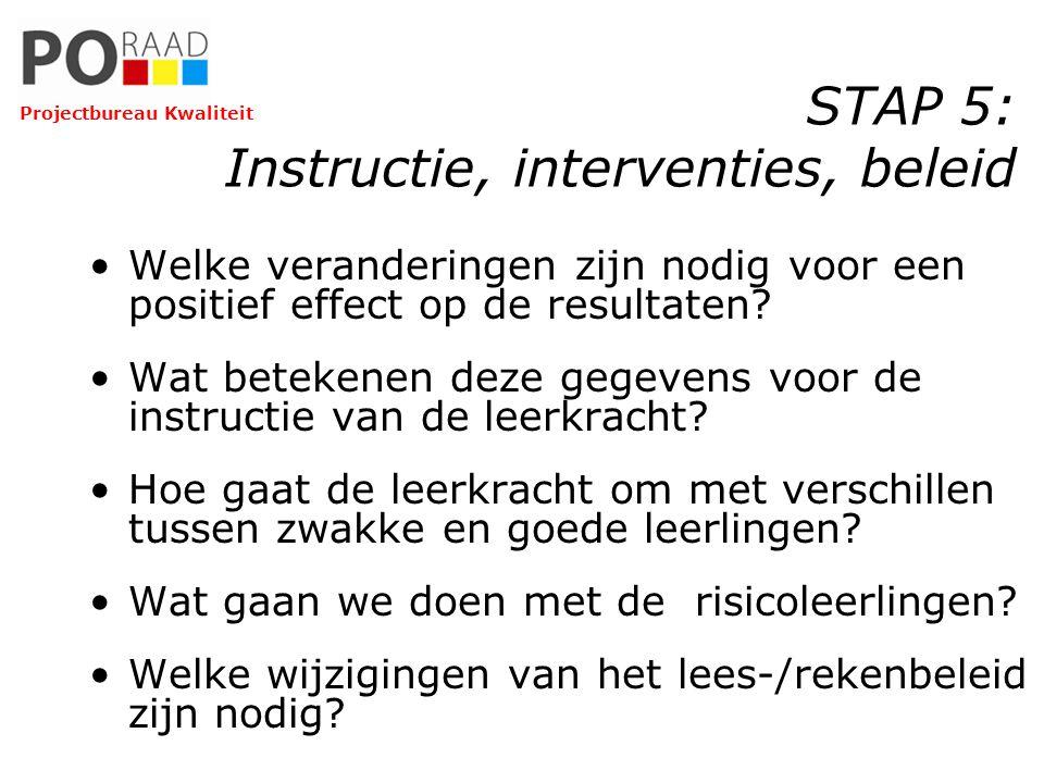 STAP 5: Instructie, interventies, beleid