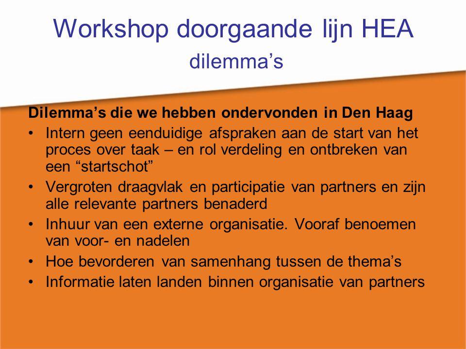 Workshop doorgaande lijn HEA dilemma's