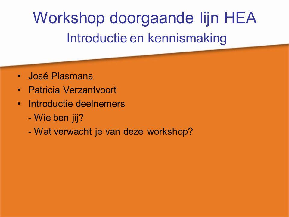 Workshop doorgaande lijn HEA Introductie en kennismaking