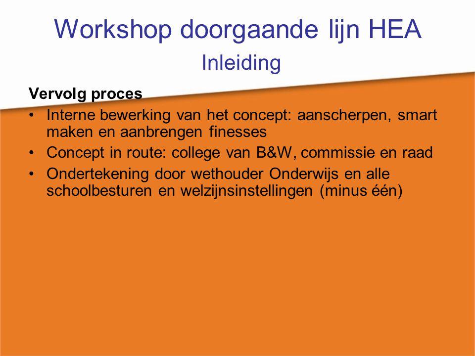 Workshop doorgaande lijn HEA Inleiding