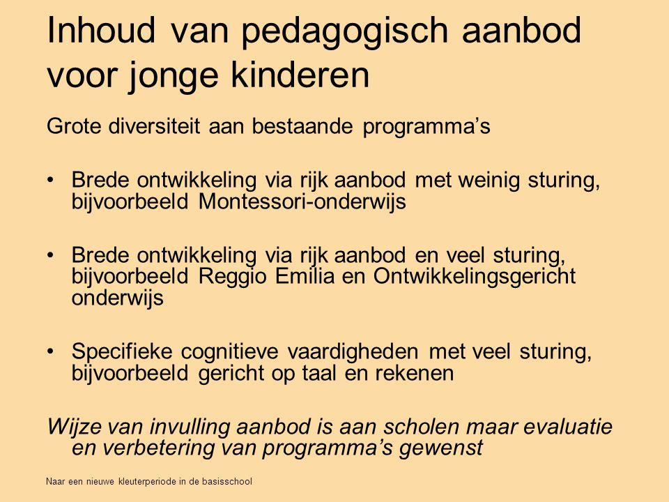 Inhoud van pedagogisch aanbod voor jonge kinderen