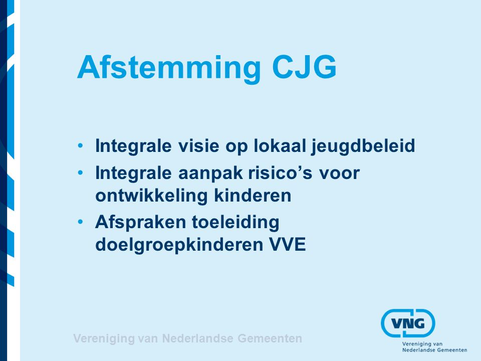 Afstemming CJG Integrale visie op lokaal jeugdbeleid