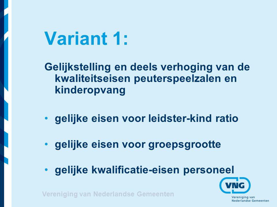 Variant 1: Gelijkstelling en deels verhoging van de kwaliteitseisen peuterspeelzalen en kinderopvang.