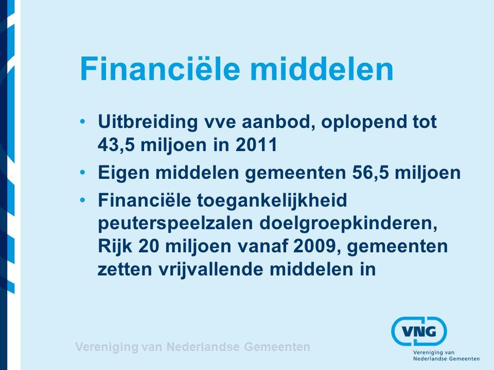Financiële middelen Uitbreiding vve aanbod, oplopend tot 43,5 miljoen in 2011. Eigen middelen gemeenten 56,5 miljoen.