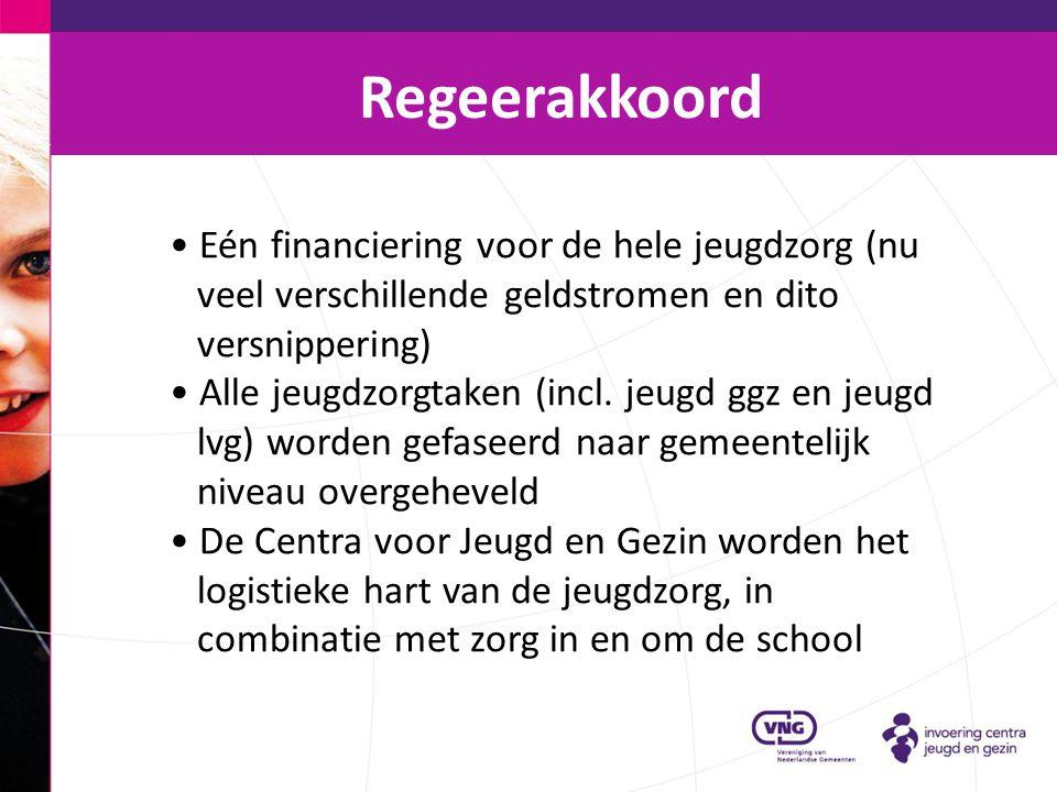 Regeerakkoord Eén financiering voor de hele jeugdzorg (nu veel verschillende geldstromen en dito versnippering)