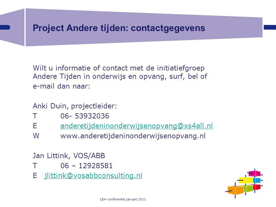 Project Andere tijden: contactgegevens